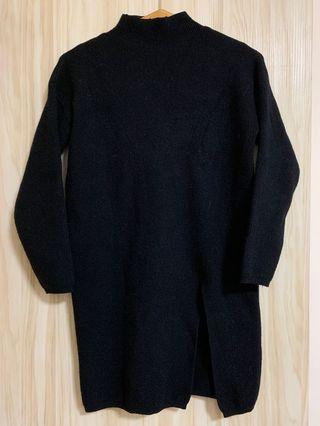 黑色兔絨長版毛上衣