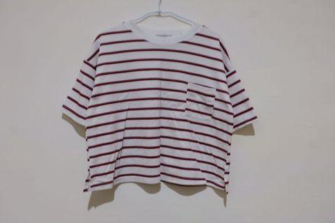 女用紅條紋短版上衣  vintage 非muji gu uniqlo