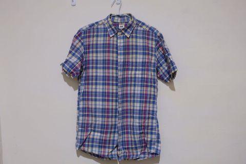 Uniqlo短袖彩色格紋襯衫 非muji gu gap