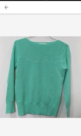 薄荷綠/純潔白素色條紋上衣毛衣