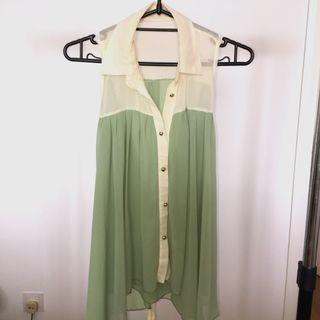 Matcha Green/Cream Blouse