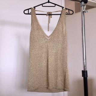 Gold Shimmery V-neck Top