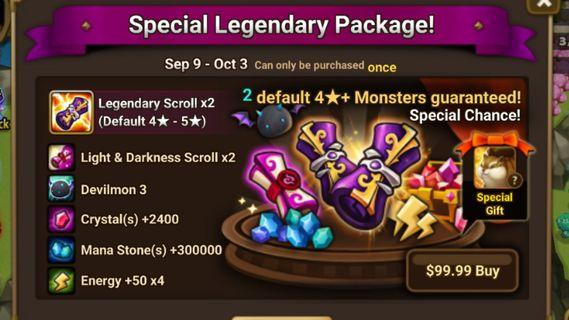 Summoners war special legendary package