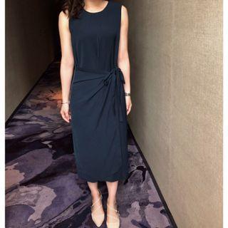 (含運)Giordano Ladies 大西洋深藍綁帶質感洋裝 Atlantic Dress