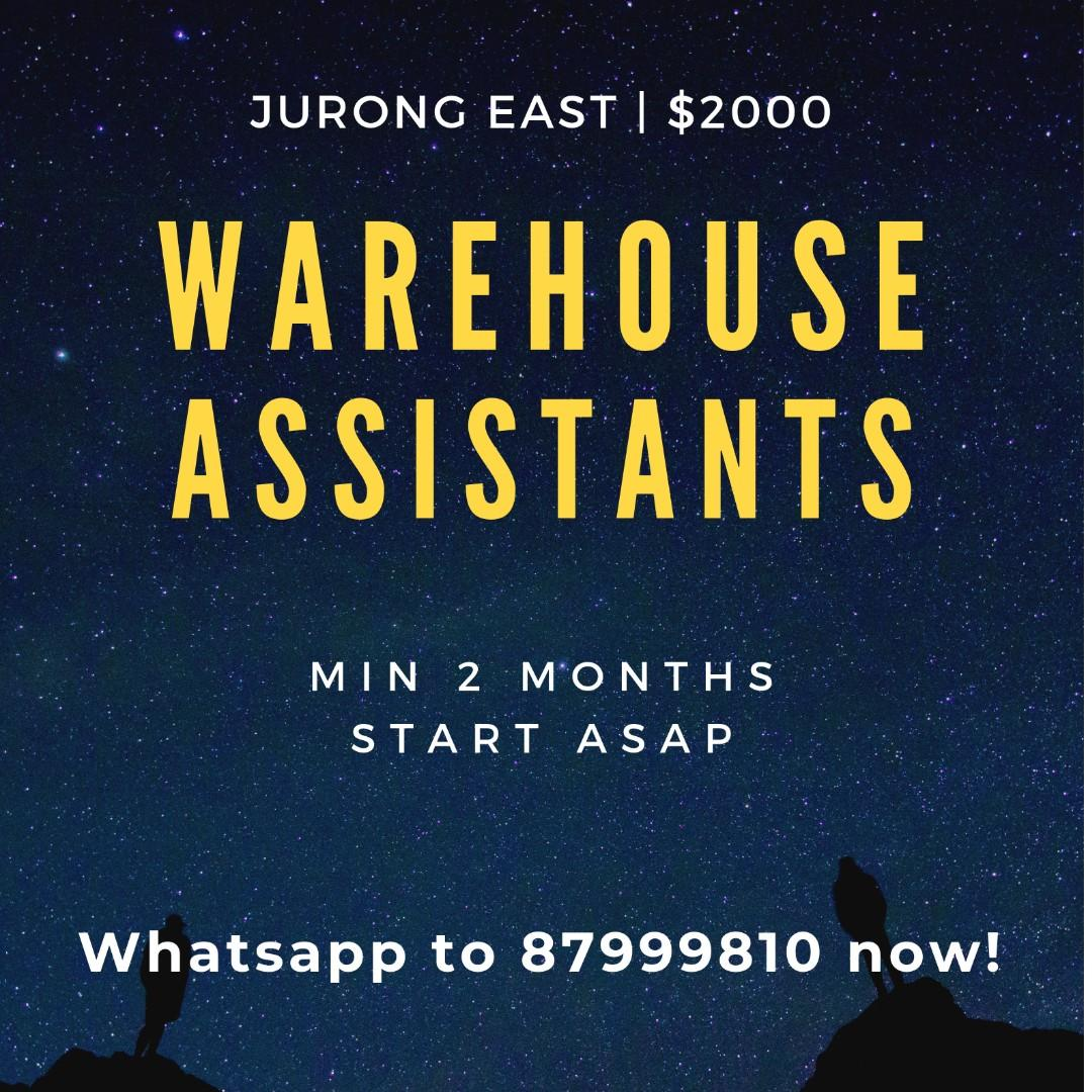 $1600++ Warehouse Assistants @ Jurong (Students Welcome!)