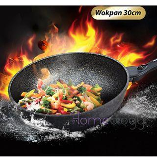 Non-Stick Frying Pans Korean Stone Wok Pan Scratch Resistant Home Kitchen Cooking Gift
