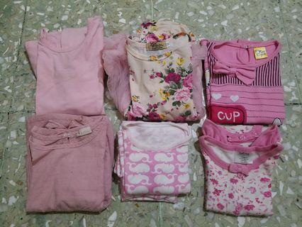 Preloved Baju Bayi borongan Pink set