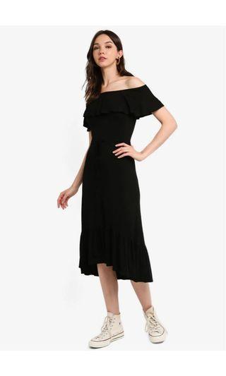 Zalora Zalora Basic Off Shoulder Drawstring Midi Dress