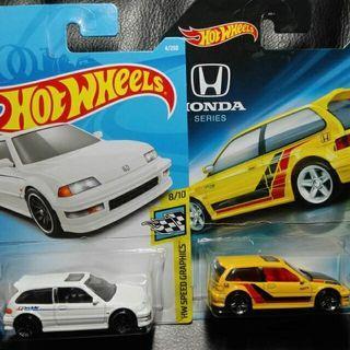 二台合售)風火輪 Hotwheels 本田70週年紀念版 HONDA 喜美 civic EF