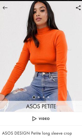 ASOS orange ribbed cropped turtleneck