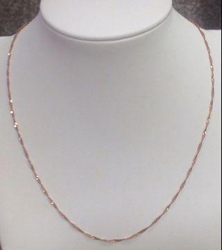 K玫瑰黃金水波項鍊 時尚項鍊大方 玫瑰金項鍊 pure gold necklace k