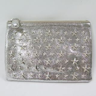 Jimmy Choo Star Studded Small Sliver Leather Clutch Bag