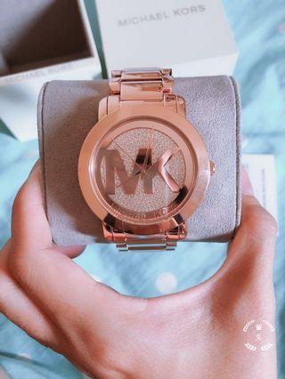 (含運)MK 大LOGO玫瑰金 全新手錶
