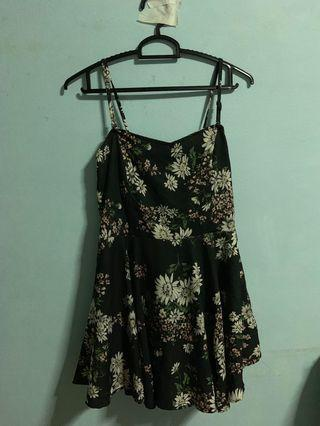 Floral Romper Dress in Black