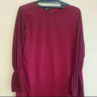 Atasan Blouse Warna Maroon Fit to Size XL