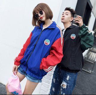 韓國ins 學院風休閒運動風衣(紅藍款)