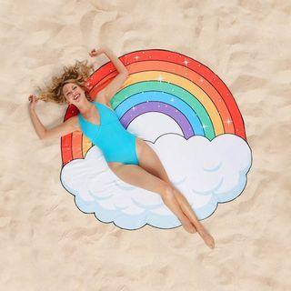 [Ready Stock] Ultra Light Beach Mat Rainbow Beach Towel