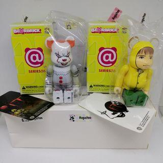 (set of 2) Bearbrick Series 36 Horror IT Pennywise Clown & Georgie toy figures