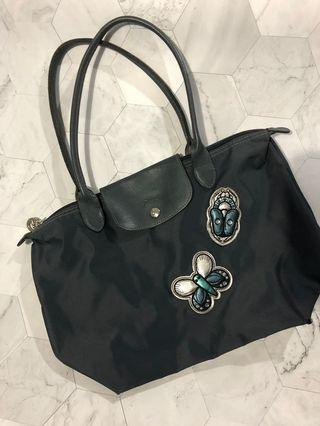 Longchamp Original Rare Le Pliage Limited Edition Rhinestone Butterfly