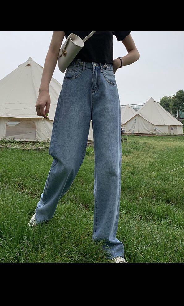 必備的丹寧牛仔寬版長褲