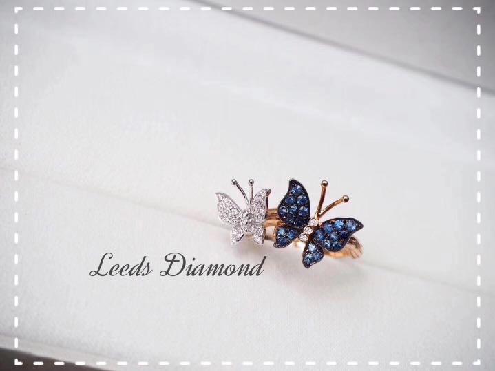 18K金藍寶石真鑽石蝴蝶設計款 戒指/項鍊 / 耳環