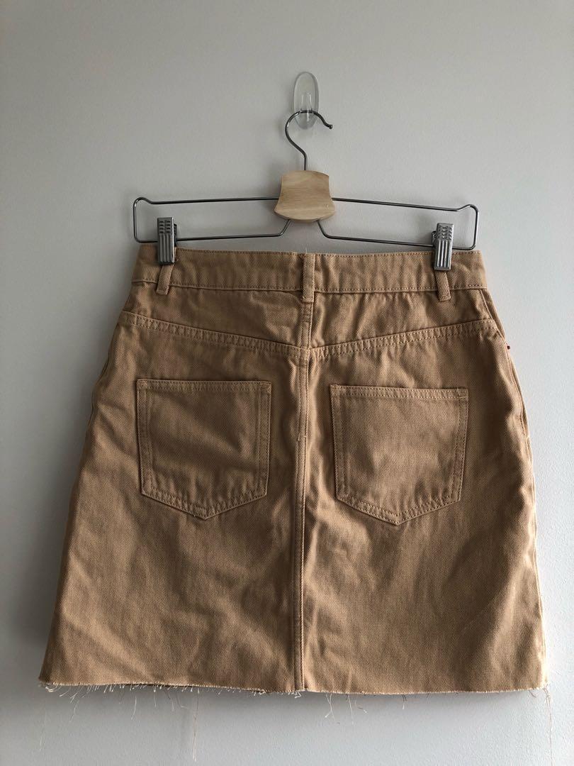 ASOS beige denim mini skirt