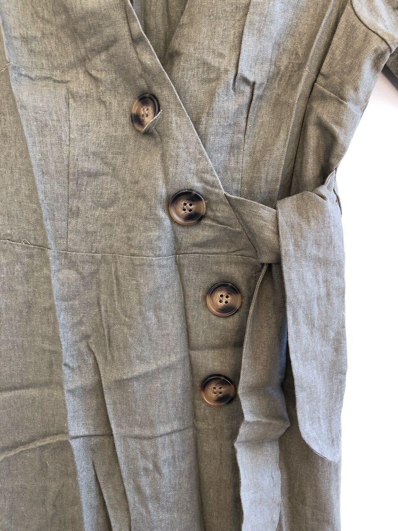 ASOS khaki linen wrap midi dress