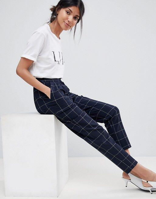 ASOS Petite navy check tapered trouser