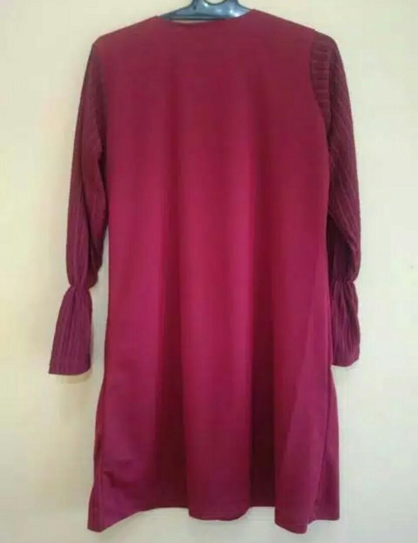 Atasan Blouse Warna Maroon Fit to Size XL