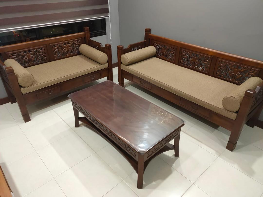 Authentic Teak Wood Sofa Set Furniture Sofas On Carousell