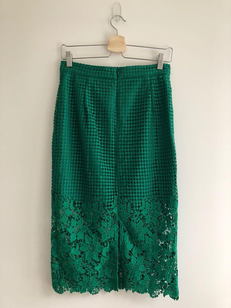 Bardot green Lola lace midi skirt