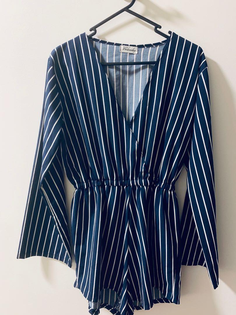 Blue Stripe Playsuit