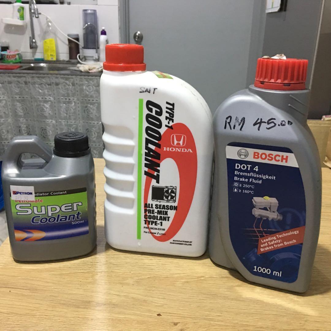 Coolant dan  brake fluid dot4