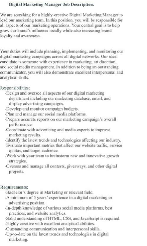 Digital Marketing Assistant Manager for Fashion retail brand
