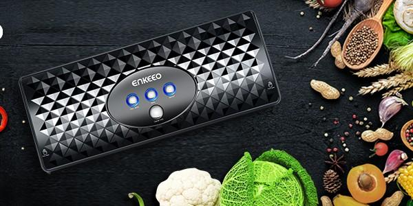 ENKEEO Vacuum Sealer Machine with 8 Wrapping Bags Quick and Auto Sealing for Dry or Moist Food Meat, Simple and Quiet Foodsaver without Air Suction Hose (UK Plug)