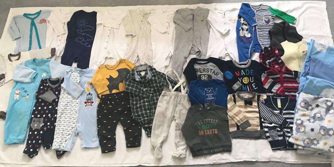 EUC baby sleeper/bodysuit/clothing lot (6-12m, 9-12m) (30 items in total)