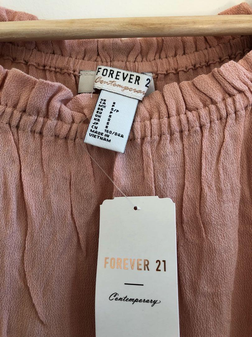 Forever21 pink off-the-shoulder top