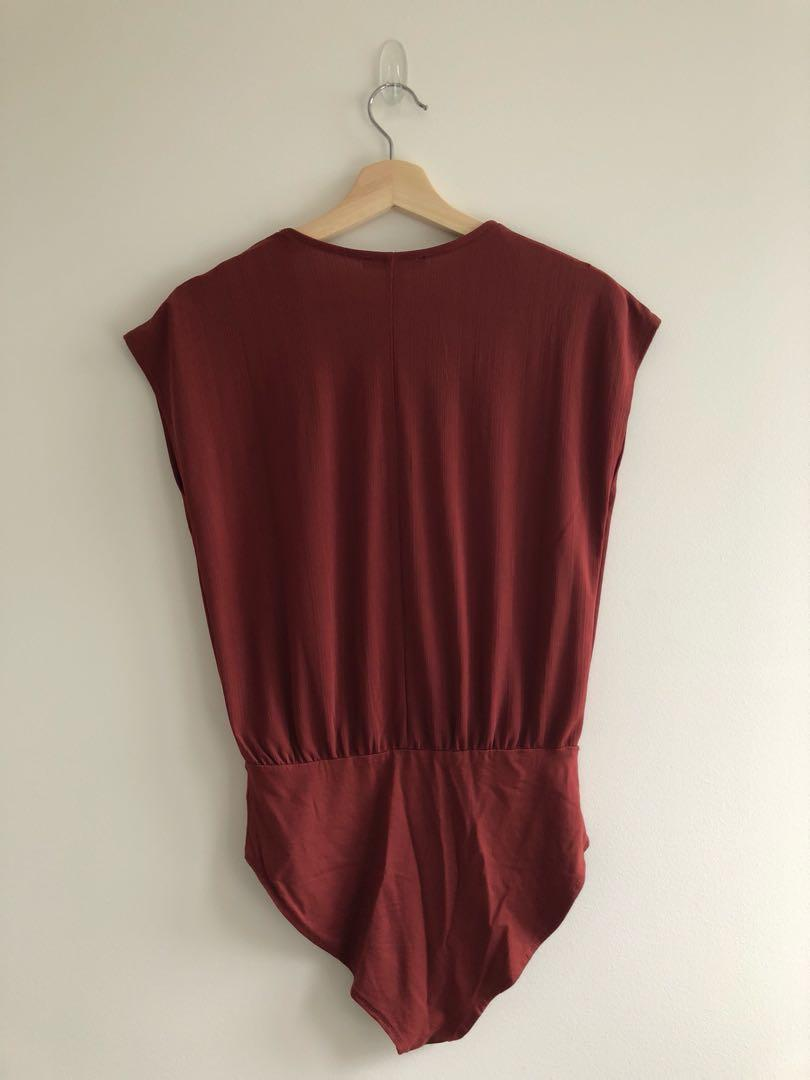 Forever21 rust bodysuit with poppers