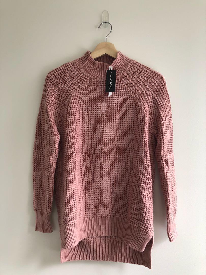 Glassons pink mock neck knit jumper