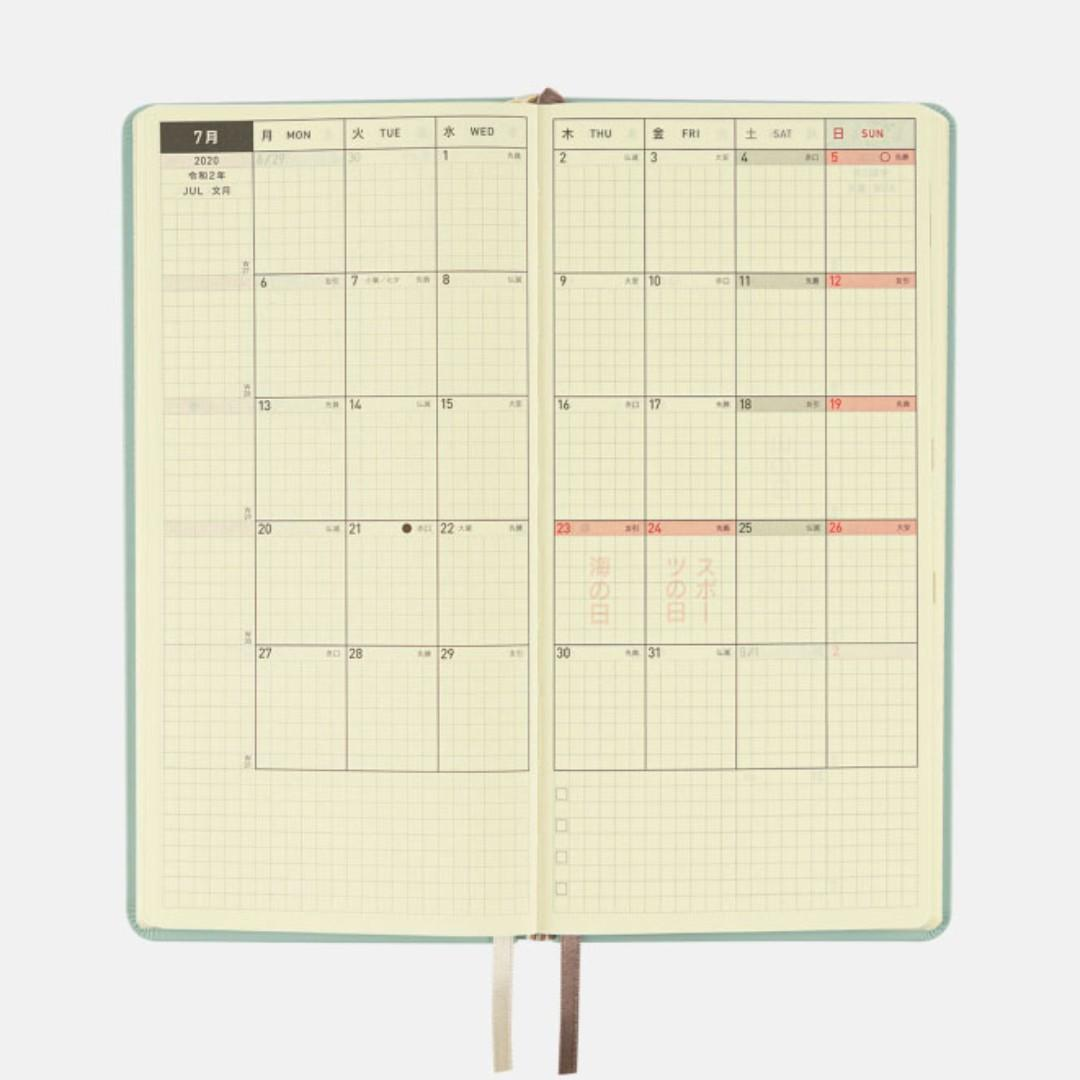 Hobonichi Techno Weeks 2020 Leather Hardcover Planner Book ( Ice Blue ) January Start