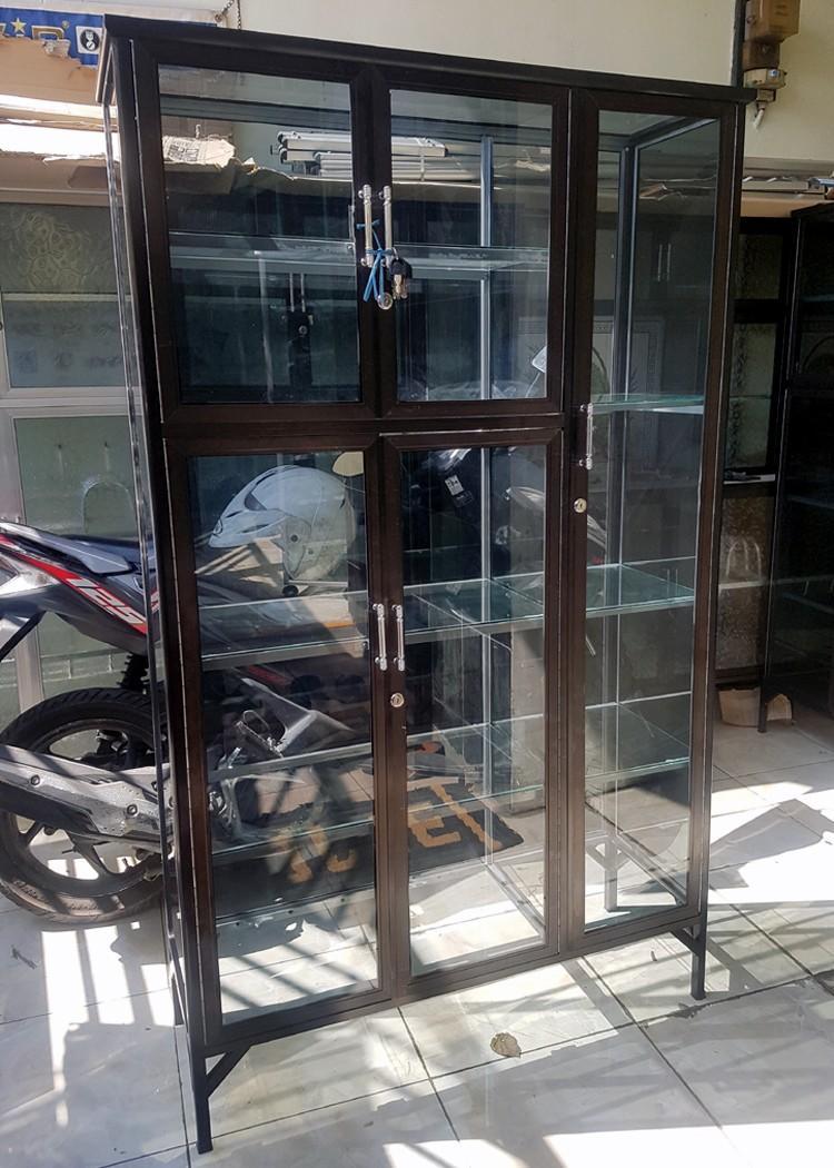 Lemari Serbaguna Aluminium 3 Pintu Frame Cokltat Kaca Riben Perabotan Rumah Di Carousell