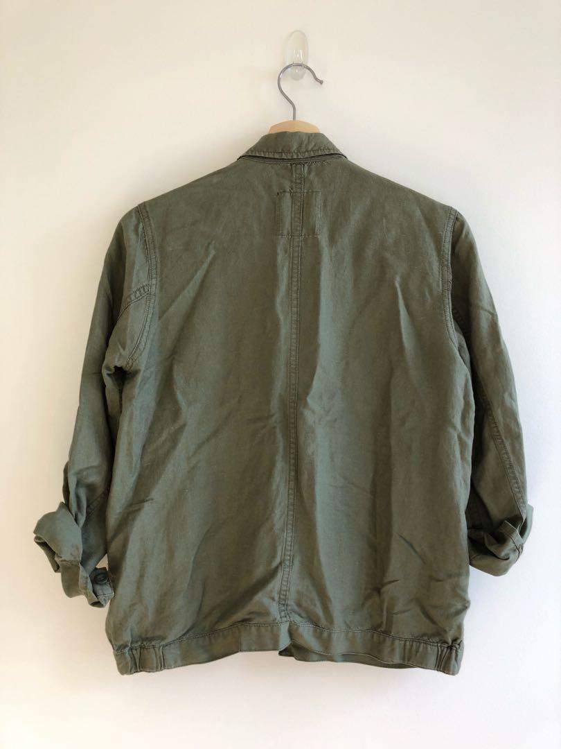 Madewell khaki linen jacket