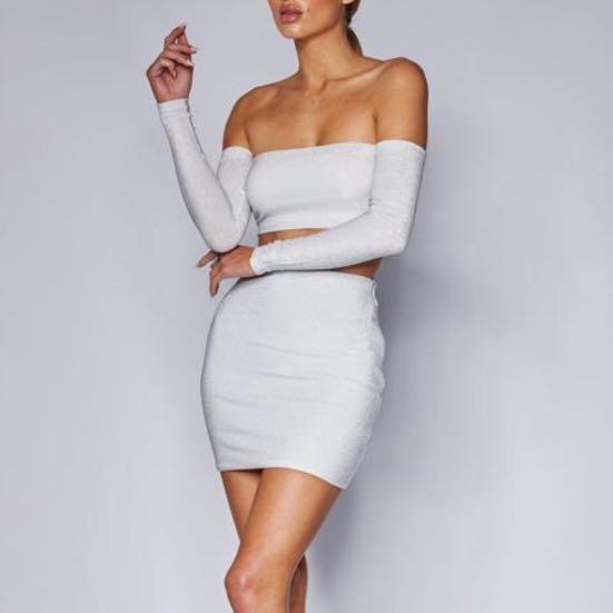 Meshki Sparkly White Two Piece Set