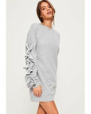 Missguided grey frill sleeve sweater dress
