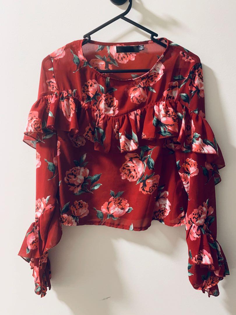 Missguided Red Floral Printed Frill Blouse