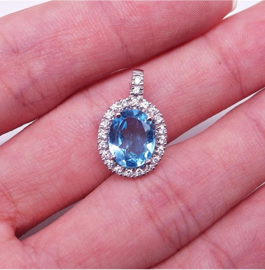 NATURAL PENDANT OVAL SWISS BLUE TOPAZ PLATED WHITE GOLD 925 STERLING PERAK ASLI IMPORT CASUAL LOKET NON NECKLACE