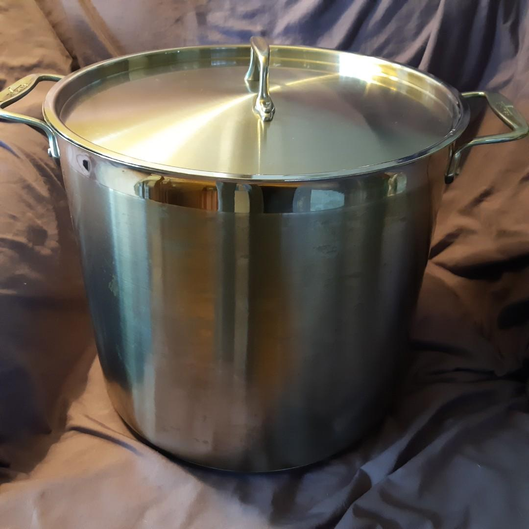 NEW. All-Clad 16 QT Soup Pot, one large Mixing Bowl and Double Steamer
