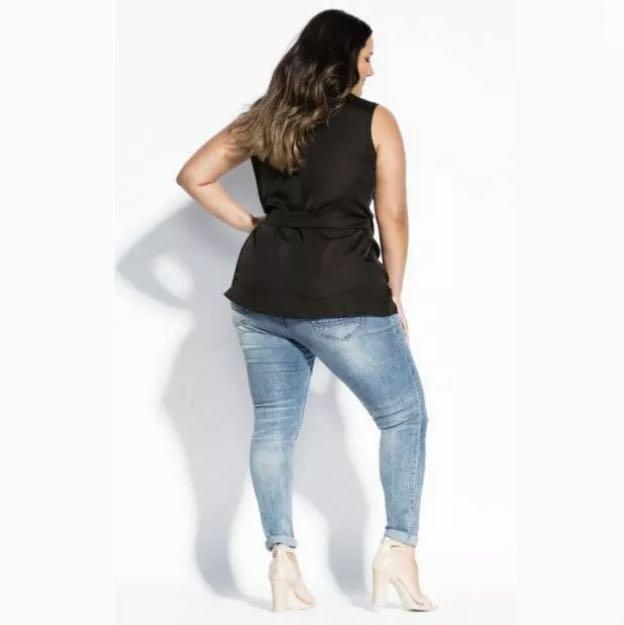 NWT City Chic Soft Spell Sleeveless Top sz 14 16 XS Small Black