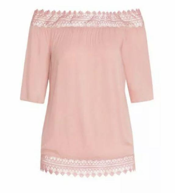 NWT City Chic Summer Romance Off Shoulder Top sz 20 Large baby pink pastel