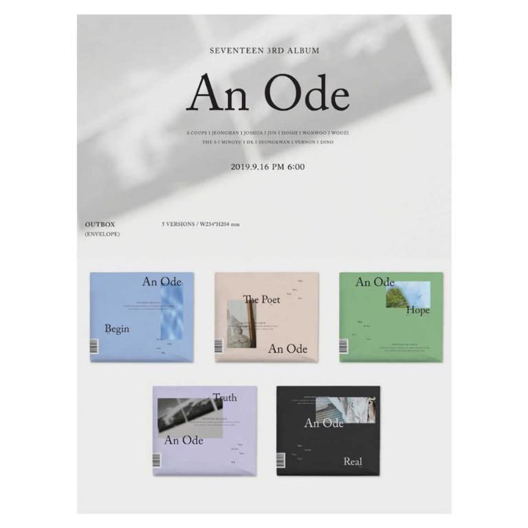 [Pre-order] SEVENTEEN 세븐틴 (3RD ALBUM 3집) - AN ODE (BEGIN ver. || THE POET ver. || HOPE ver. || TRUTH ver. || REAL ver.)